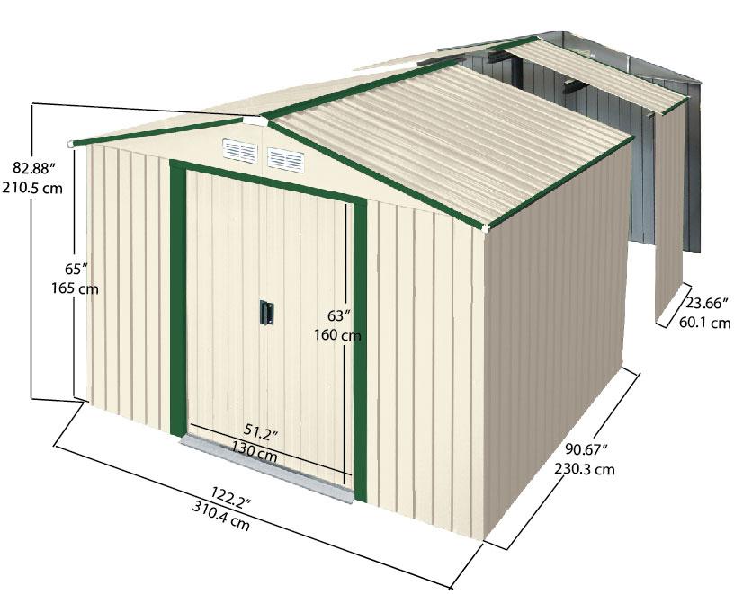 Duramax colossus cobertizo metalico jard n 10 10 9 70 m2 for Cobertizo de jardin de techo plano de pvc