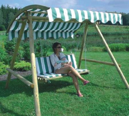 Seifil percan balanc n para jardin con toldo 413200 for Balancin madera jardin