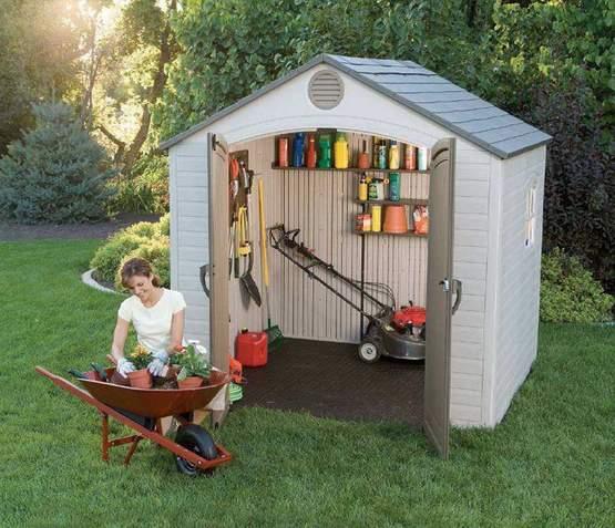 Lifetime 6411 caseta de jardin de resina for Casetas de jardin pequenas