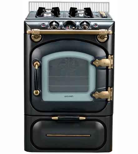Lacunza century cocina de gas negro mate laton envejecido for Cocinas de gas butano con horno