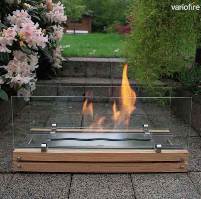 variofire chimenea de bioetanol k exterior interior