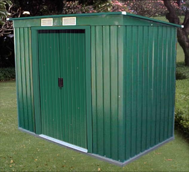 Duramax cobertizo pent roof 6 4 caseta met lica con for Casetas de jardin metalicas baratas