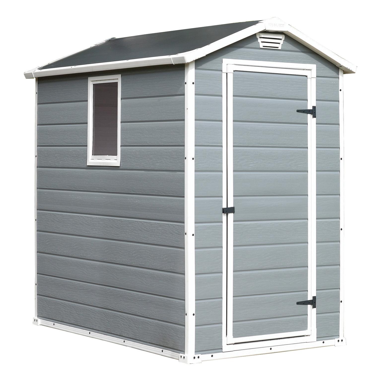 Keter manor 46 4 6 grey caseta cobertizo gris 2 2 m2 for Cobertizo de resina
