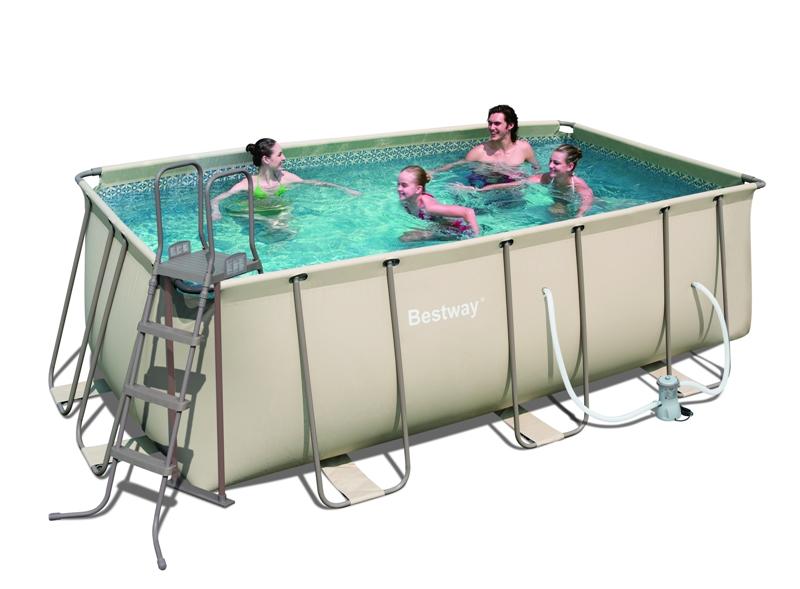Bestway piscina tubular beige desmontable 414 x 216 x for Piscina tubular