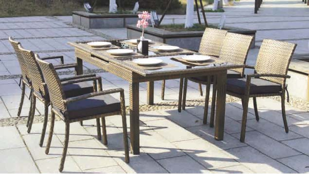 Tryun ty 1856 conjunto comedor rattan mesa 6 sillas for Sillas comedor jardin