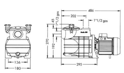 Quimicamp bomba piscis 100 m monofasica para piscina for Dimensiones de albercas