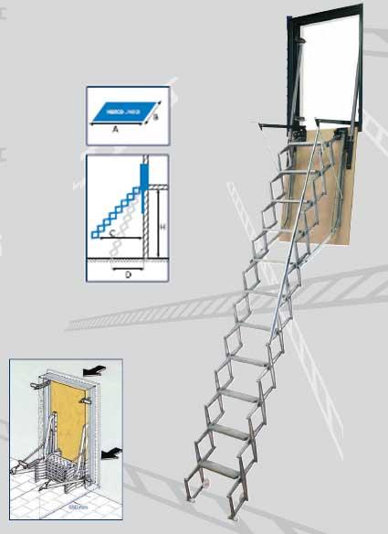 Cies tcha p 130 70 escalera techo de pared - Escalera de techo ...