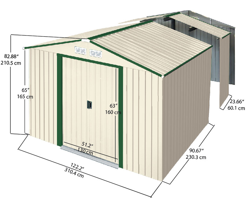 Duramax colossus cobertizo chapa metal jardin 10 12 11 for Casetas pvc exterior segunda mano