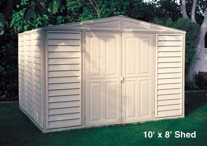 Duramax caseta pvc woodbridge 10 8 for Caseta de pvc para jardin