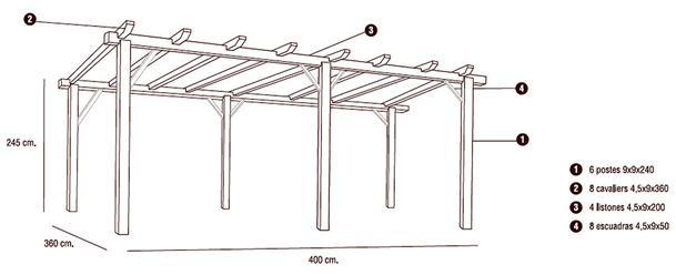 Nortene pergola de madera 360 x400 cm 413401 - Medidas de pergolas ...
