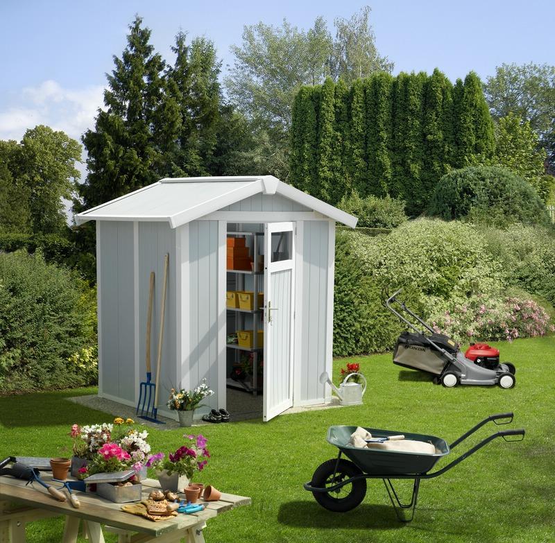 Grosfillex linea utility 3 garden home caseta jardin pvc for Casetas para almacenaje exterior
