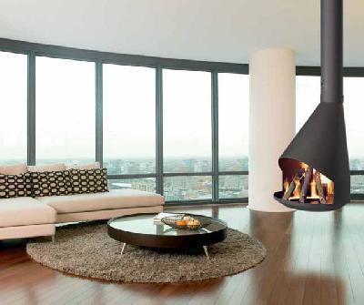 Traforart hera chimenea moderna suspendida for Construccion de chimeneas para casas