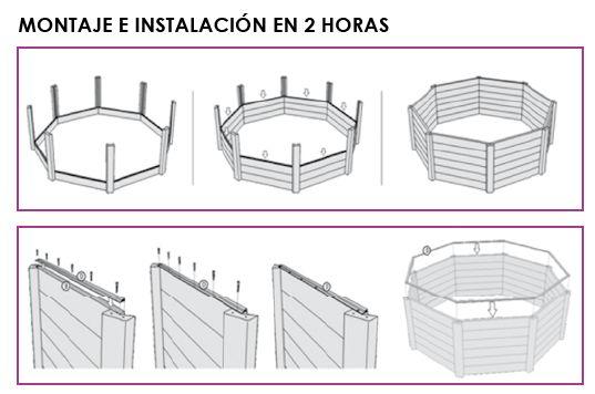 Quimicamp piscina europea elevada de madera prefabricada for Piscinas prefabricadas madera