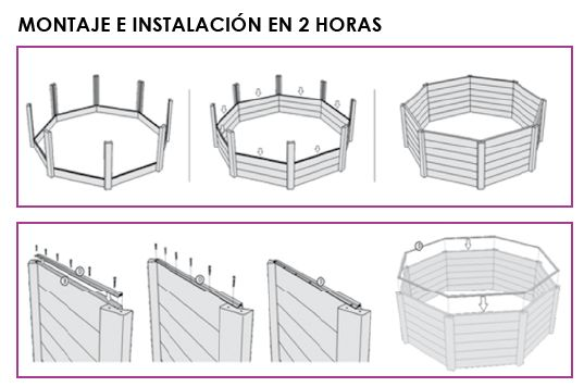 Quimicamp piscina americana prefabricada elevada de for Piscinas prefabricadas madera