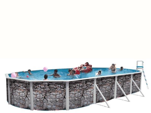 Toi 8130 piscina elevada decorada en piedra gris - Piedras para piscinas ...