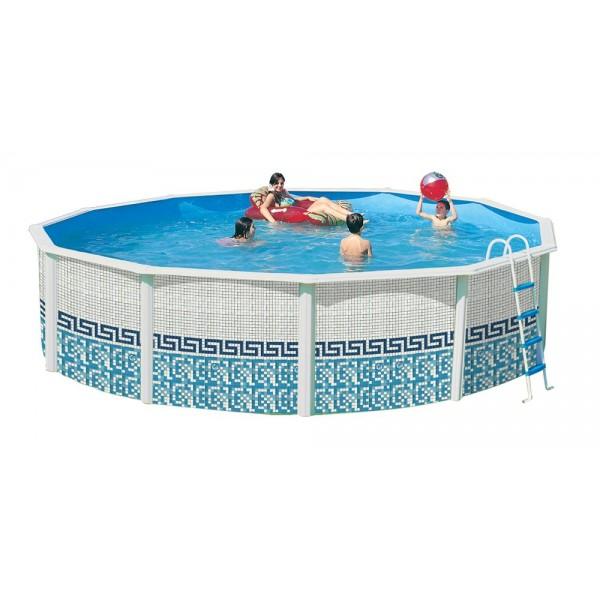 Toi 8147 mosaico piscina circular elevada en kit for Piscinas desmontables rigidas