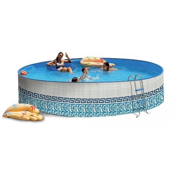 Toi 8152 piscina redonda elevada en kit mosaico for Funda piscina redonda