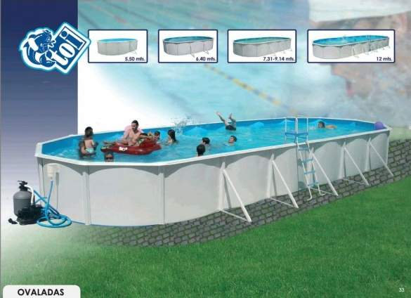 Toi 8479 ovaladas piscina rigida para jardin con kit for Kit de piscina