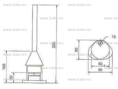 Chimenea redonda moderna chimenea de forma redonda con dos caras de vidrio de lea y que se - Chimeneas grandes dimensiones ...