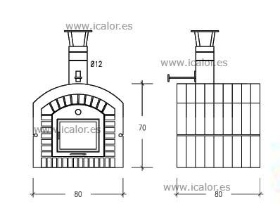 Rofer rodi hr80 horno refractario con puerta de - Medidas hornos de lena ...