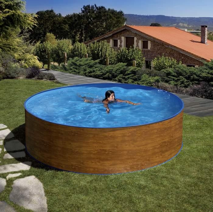 Gre serie menorca kitwpr35w piscina redonda elevada en for Piscina elevada madera