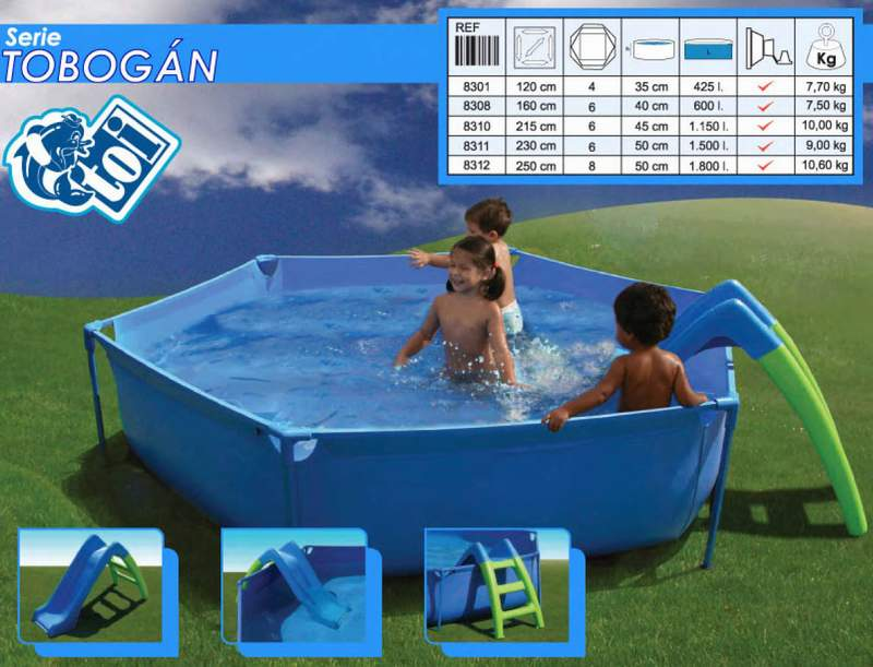 Toi 8313 piscina para ni os desmontable tubular con tobogan for Piscina hinchable ninos
