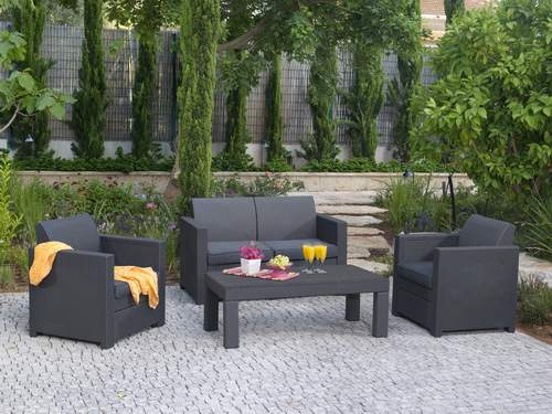 Keter conjunto rattan limusine muebles para exterior for Muebles de jardin rattan