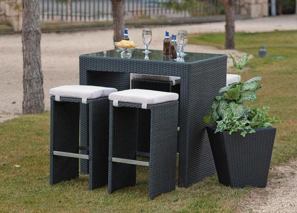 Tryun ty 1859 conjunto rattan mesa 4 taburetes terraza for Conjunto jardin rattan sintetico