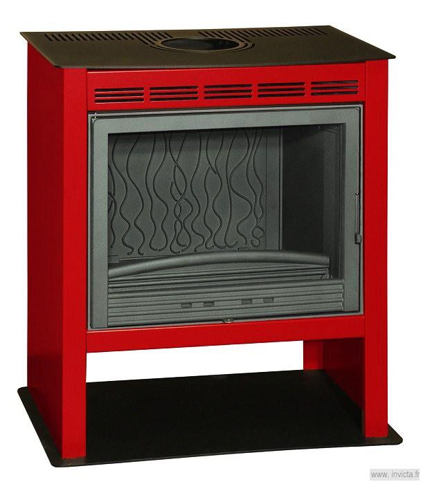 Invicta estufa de le a moderna phoenix 6185 27 roja - Estufas de lena modernas ...