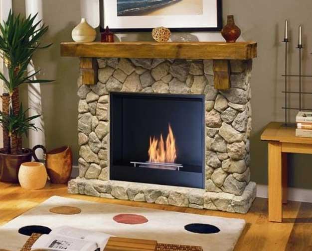 Muenkel fieldstone chimenea bioetanol - Chimeneas de madera decorativas ...