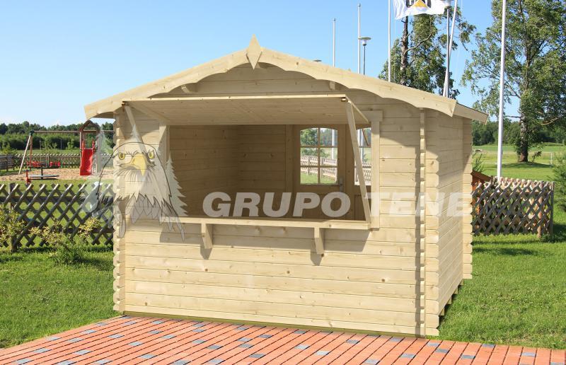 Grupo tene kiosco de madera 300 300 28 mm for Kioscos prefabricados de madera