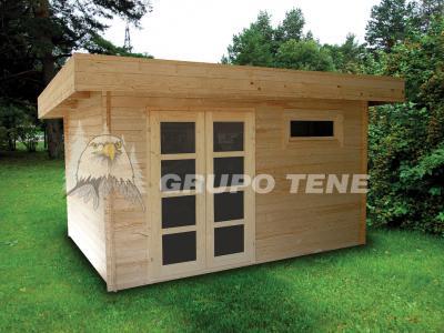 Grupo tene oriental 3 caseta de madera techo plano 380 for Casetas para guardar herramientas de jardin
