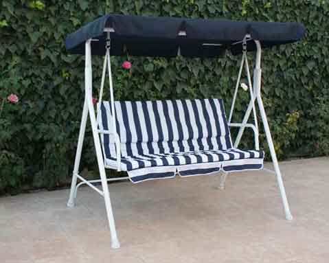 balancin acero presto blanco azul jardin 3 plazas - Balancin De Jardin