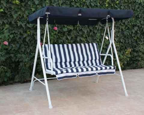 Balancin acero presto blanco azul jardin 3 plazas 519 0002 for Balancines de jardin
